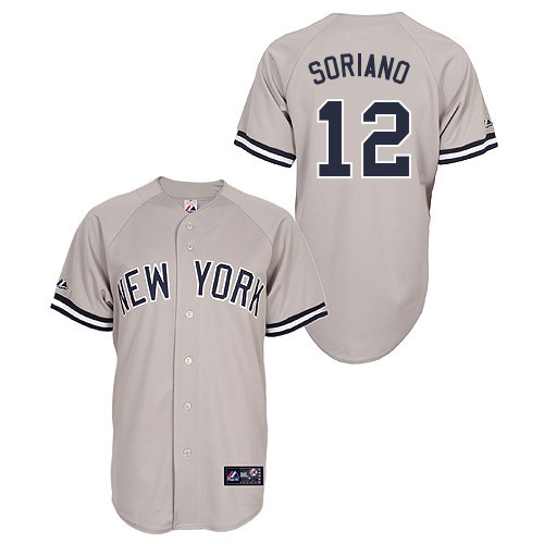 Alfonso Soriano #12 Youth Baseball Jersey-New York Yankees Authentic Road Gray MLB Jersey